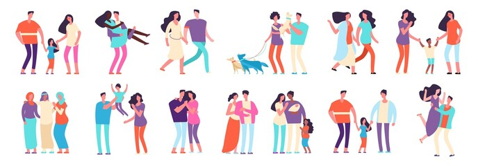 Different families. Arab, caucasian, mixed couples. Heterosexual and homosexual families with kids and pets. Mothers, fathers, friends vector characters. Set kind family with pet and kid illustration
