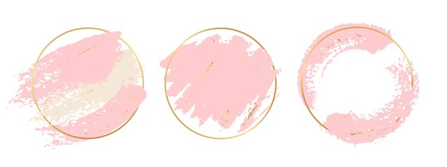 Gold pink background. Circle gold frames with pastel pink brushes elements. Vector brush strokes banners template. Illustration stroke pastel, splash brush watercolor Fototapete