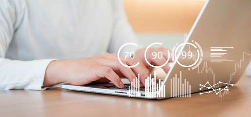close up businessman typing on laptop to working about planning business strategy , forecasting financial exchange market with dashboard tools monitor for futuristic technology concept