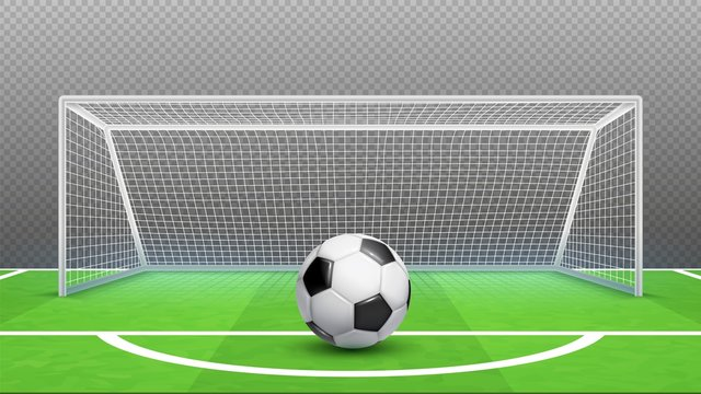 Penalty kick concept. Football vector background. Realistic soccer ball field goals isolated on transparent background. Illustration kick soccer penalty, ball activity
