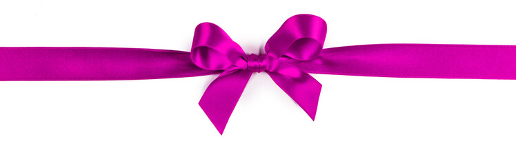 Wall Mural - Pink ribbon bow isolated on white