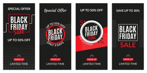 Black Friday sale banner template for Social media stories. Price off discount background for mobile phone. Vector illustration.