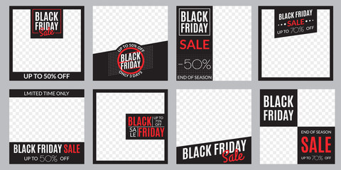 Black Friday sale banner set. Social media post or web ads design template. Price off discount background. Vector illustration.