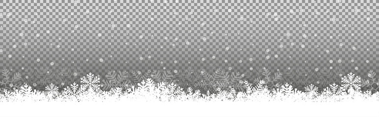 Foto op Aluminium Wit Transparent Chritmas background snowflakes snow winter Illustration Vector eps10