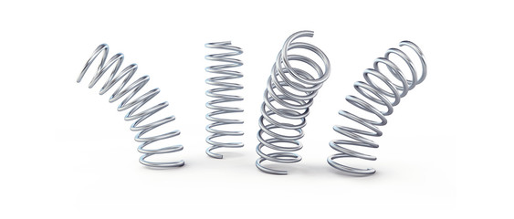 Photo sur Aluminium Spirale metal jumping spring isolated on a white background 3D illustration, 3D rendering