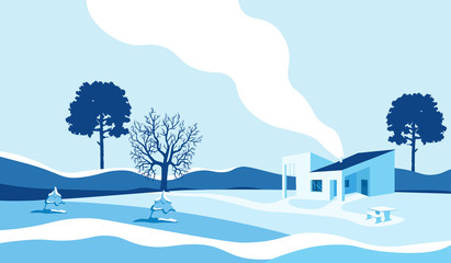 Printed kitchen splashbacks Light blue Winter landscape with country house and bullfinches.