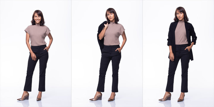 Collage Group Pack of Fashion Young Mother Indian / Asian Woman black hair beautiful make up purple dress black pants stand pose snap 360 body full length. Studio Lighting white Background isolated