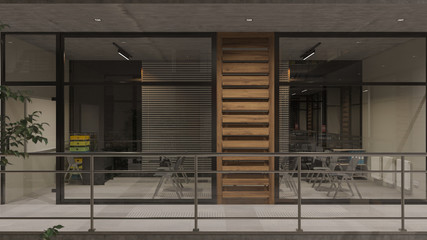 Illuminated and Empty Seminar Room at Night Behind the Inner Balcony 3D Rendering