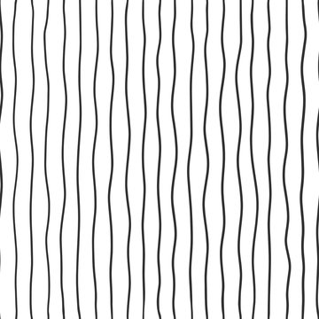 Fabric seamless pattern with textile line texture, black on white background. Simple wallpaper doodle stripes, grunge backdrop, monochrome design element