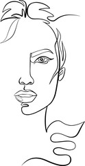 Fashion illustration, feminine full-face in half. Continuous lime portrait of Woman for beauty industry.