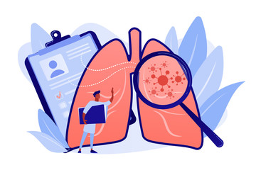 Huge magnifier showing cancer in the lungs and doctor with document folder. Lung cancer, trachea and bronchus concept on white background. Pinkish coral bluevector vector isolated illustration