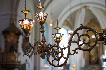 Old antique classic church chandelier.