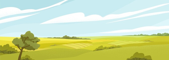 Fields panorama flat vector illustration. Beautiful countryside scenery, picturesque rural landscape, scenic view. Oak tree on glade, green hills under cloudy sky. Natural environment, vivid nature.