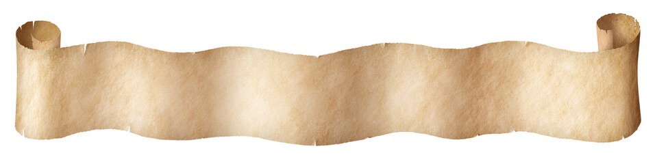 Keuken foto achterwand Retro Narrow old paper scroll isolated on white