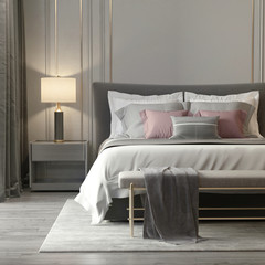Grey bedroom interior with luxury lamps and a stool