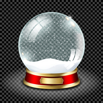 Realistic transparent snow globe with snow, isolated.