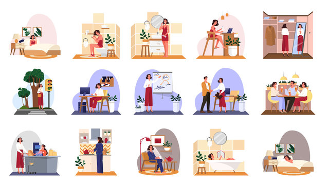 Daily routine of a woman set. Isolated vector illustration in cartoon style
