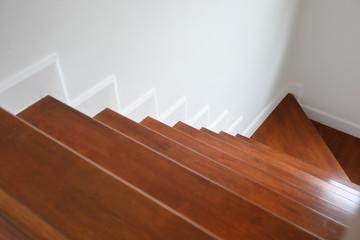 Keuken foto achterwand Trappen brown wooden hardwood stair in modern residential house