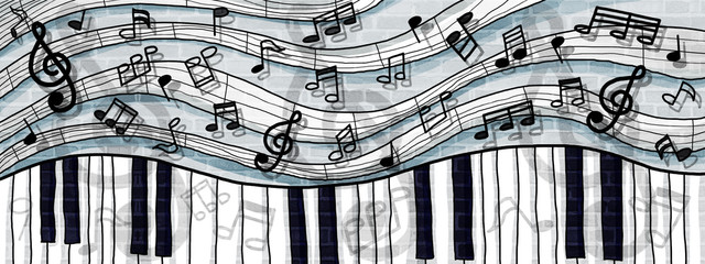 musical notes and keyboard design background wall paint