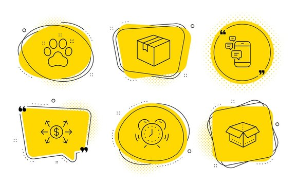 Time management, Pet friendly and Open box signs. Chat bubbles. Dollar exchange, Parcel and Communication line icons set. Payment, Shipping box, Smartphone messages. Alarm clock. Business set. Vector