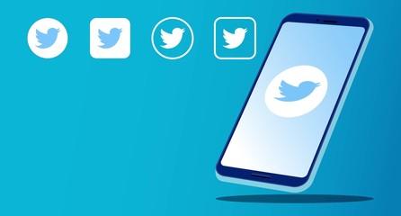 Rawang, Malaysia - November 11, 2019: Smart phone with instant messenger and social media logos Twitter