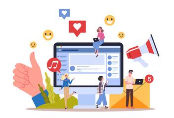 Fototapeta Social media concept. Using network for posting and sharing content. obraz