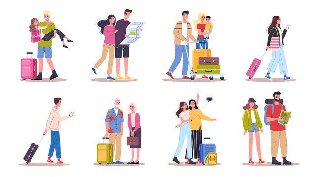 Vector illustration set of tourist with laggage and handbag.