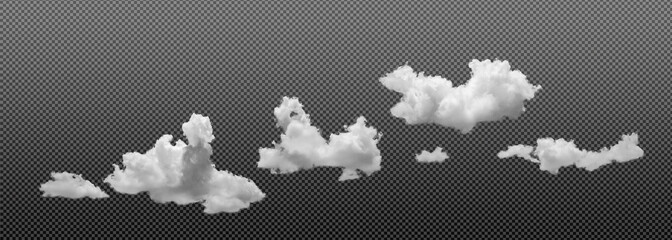 Tiny White soft cloud isolated on transparent  background