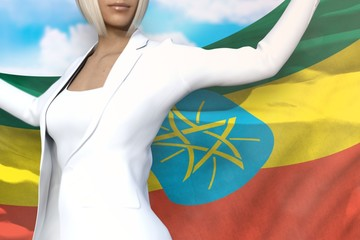 young business woman holds Ethiopia flag in hands behind her back on the blue sky background - flag concept 3d illustration