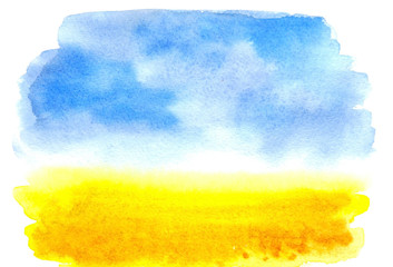 Watercolor picture wheat field with the sky. Watercolor rural landscape. Beautiful Blue sky with yellow fields