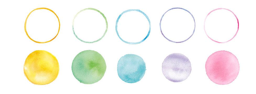 水彩テクスチャ、まるのグラフィック素材 トレースベクター