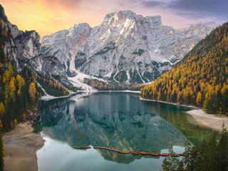 Lago di Braies lake and Seekofel peak at sunrise, Dolomites. Italy