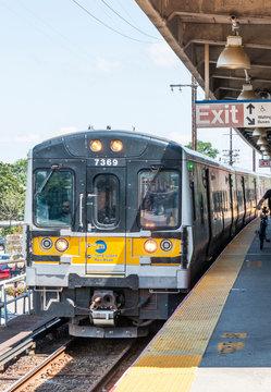 LIRR train arriving in Babylon New York