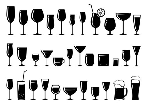 set of glass for wine, dessert and alcohol beverages
