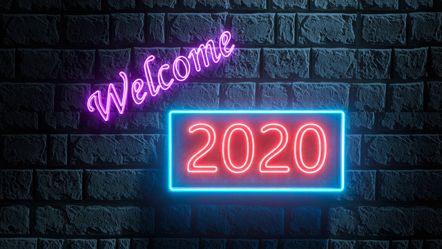 3d illustration of neon street sign of 2020 new year welcome on brick wall. 2020 neon text. New Year 2020 Creative Design Concept. Bright signboard, light banner. 3d rendering