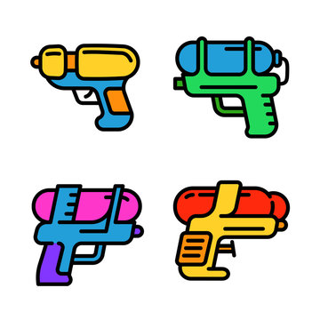Squirt gun icons set. Outline set of squirt gun vector icons for web design isolated on white background