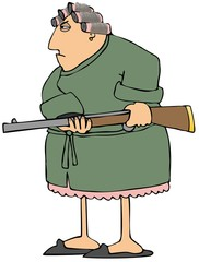 Irate woman with a gun