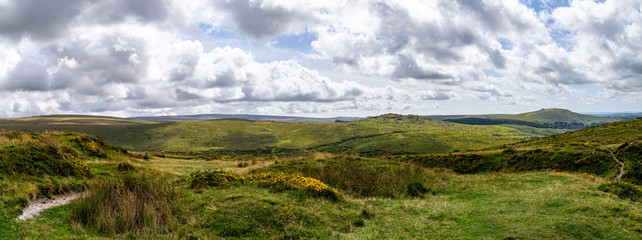 Landscape of Dartmoor National Park in late summer