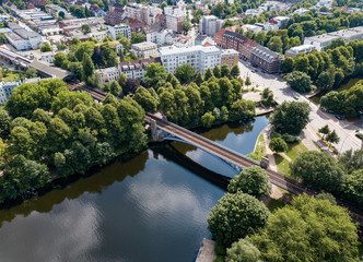 Aerial view of the districts of the city of Hamburg. Germany Summer Wall mural