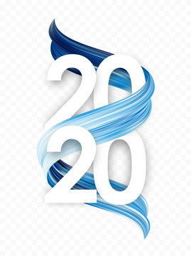 Happy New Year. Number of 2020 with blue abstract paint stroke shape. Trendy design