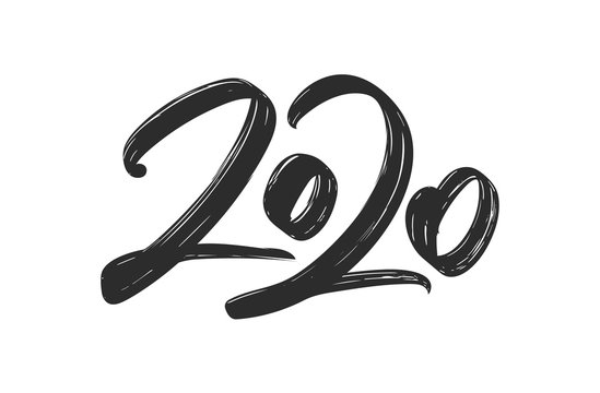 Hand drawn brush ink lettering of 2020. Happy New Year. Chines calligraphy
