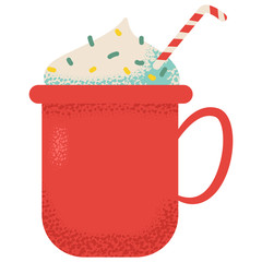 Hot chocolate in red cup vector cartoon illustration isolated on a white background.