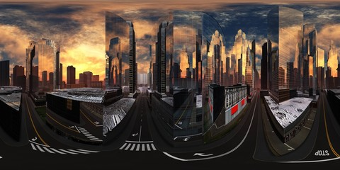 Wall Mural - cityscape, HDRI, environment map , Round panorama, spherical panorama, equidistant projection, panorama 360