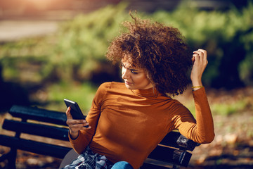 Serious mixed race young woman with curly hair and in turtleneck sitting in park on bench and using smart phone for reading or writing message. Wall mural