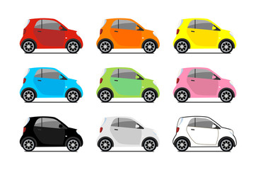 Car sharing logos, vector city micro car set. Eco vehicle cartoon icons isolated on white background. Cartoon vector illustration with urban ecological transport. Cute vector smart cars illustration.