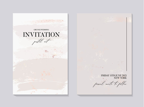 Wector wedding collection in grey colors, marble invitation card with gold foil texture. Minimal bohemian design in vector, creative fluid art, liquid flow concept