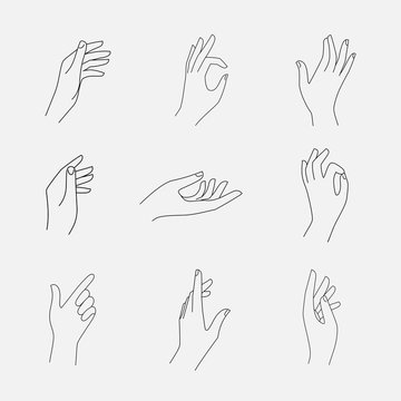Set of female hands and gestures icons, logos, emblems, signs