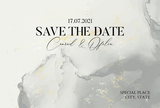 Hand-drawn marble texture in pastel grey colors with watercolor fluid ink and golden foil glitter. Tender Chic business cover, Save the Date card, wedding invitation
