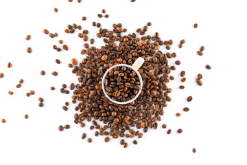 Coffee Beans Isolated on White Background, close-up
