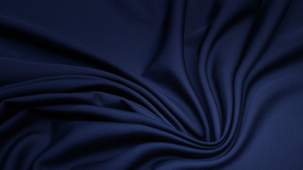 .Rayon fabric in blue. Pattern, background.